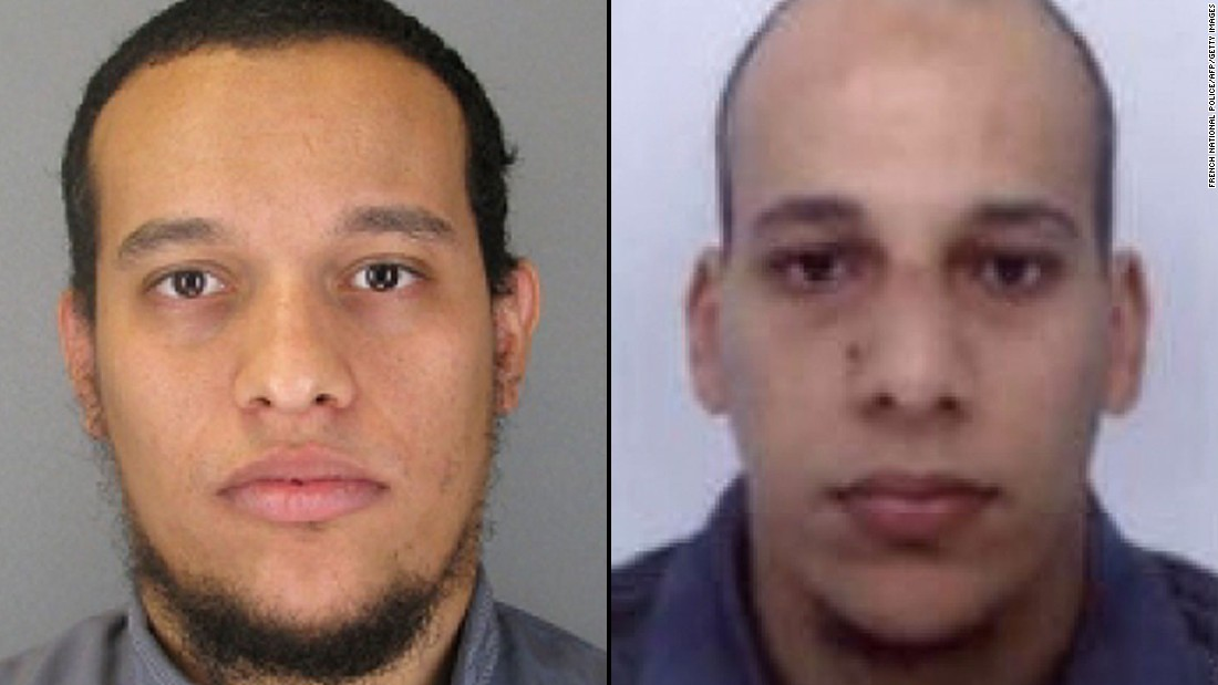 "French authorities released photographs of <a href=""http://www.cnn.com/2015/01/08/europe/paris-charlie-hebdo-shooting-suspects/index.html"" target=""_blank"">main suspects</a> Said Kouachi, left, and Cherif Kouachi, warning that both could be armed and dangerous. A third suspect, Hamyd Mourad, has surrendered to police, according to the news agency Agence France-Presse."