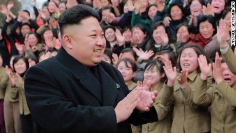 "This undated picture released from North Korea's official Korean Central News Agency (KCNA) on December 21, 2014 shows North Korean leader Kim Jong-Un (front C) visiting the Kim Jong-Suk Pyongyang Textile Mill in Pyongyang.    AFP PHOTO / KCNA via KNS    REPUBLIC OF KOREA OUT  THIS PICTURE WAS MADE AVAILABLE BY A THIRD PARTY. AFP CAN NOT INDEPENDENTLY VERIFY THE AUTHENTICITY, LOCATION, DATE AND CONTENT OF THIS IMAGE. THIS PHOTO IS DISTRIBUTED EXACTLY AS RECEIVED BY AFP.  ---EDITORS NOTE--- RESTRICTED TO EDITORIAL USE - MANDATORY CREDIT ""AFP PHOTO / KCNA VIA KNS"" - NO MARKETING NO ADVERTISING CAMPAIGNS - DISTRIBUTED AS A SERVICE TO CLIENTSKNS/AFP/Getty Images"