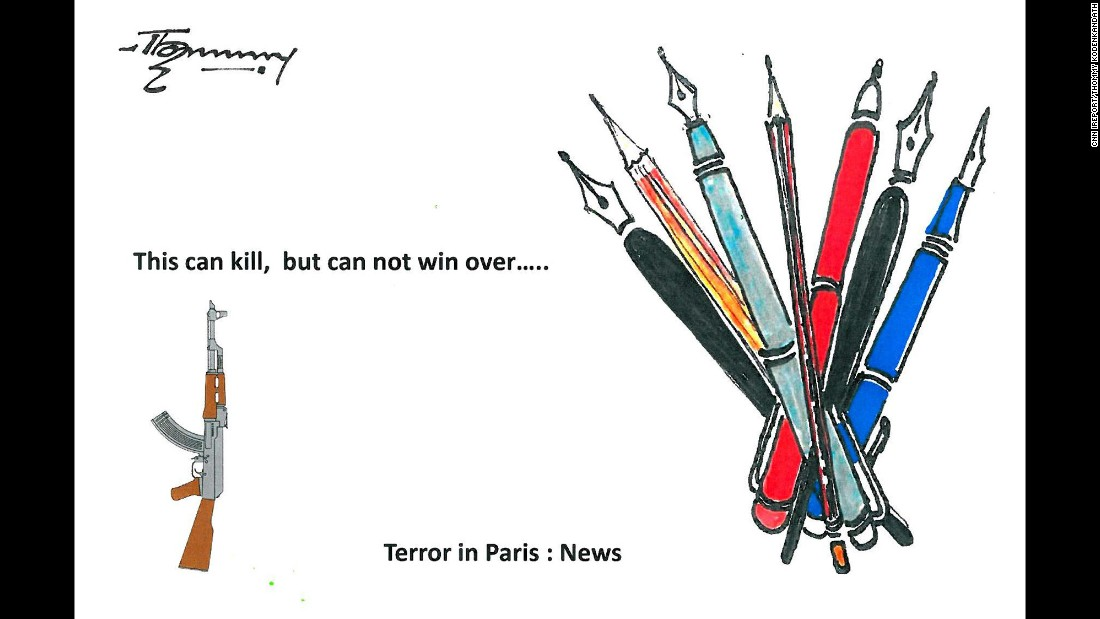 """Violence will not be able to stop cartoonists from doing their job,"" said scientist and artist <a href=""http://ireport.cnn.com/docs/DOC-1204341"">Thomas Kodenkandath</a>."