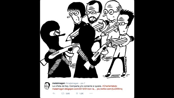 "By Chilean cartoonist <a href=""https://twitter.com/malaimagen/status/552845731967803392"" target=""_blank"" target=""_blank"">Malaimagen</a>"