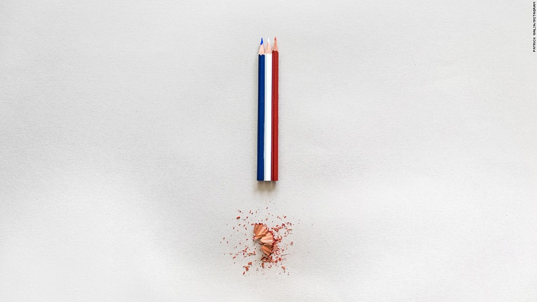 "Filmmaker and photographer <a href=""http://instagram.com/p/xkhyHwDu6E/?modal=true"" target=""_blank"">Patrick Walsh</a> made an exclamation point using pencils and shavings in the tricolor of the French flag to evoke a commitment to freedom of speech."
