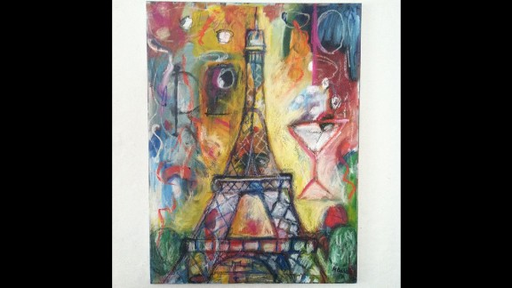 """Illustrator <a href=""""http://instagram.com/p/xm0cwOxWZj/"""" target=""""_blank"""" target=""""_blank"""">Melissa Bollen</a> drew the Eiffel Tower over an abstract piece. """"I won't let the terrorists ruin the beauty of Paris for me or the rest of us."""""""
