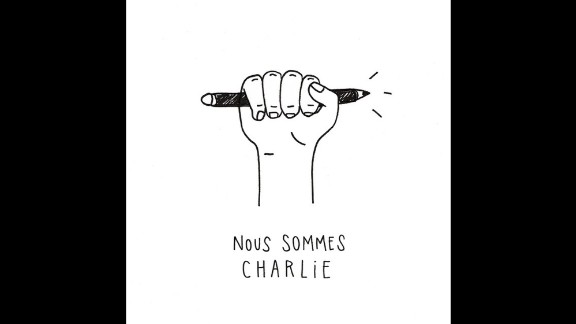 """""""Our only weapon against war and oppression is our ability to draw and preserve our freedom of expression,"""" said Paris artist <a href=""""http://instagram.com/p/xmVloXnOGu/?modal=true"""" target=""""_blank"""" target=""""_blank"""">Marie-Clémence Rivière</a>."""