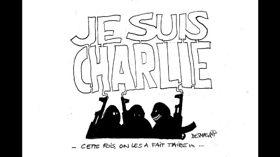 """""""The men who attacked Charlie Hebdo are congratulating themselves ... but the smoke out of their guns is forming a huge """"I am Charlie"""" above their heads, showing that they failed as support to the media they wanted to silence arises around the world,"""" said artist Marc Decoux."""