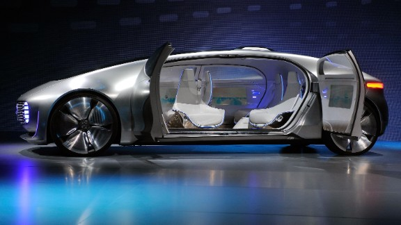 "The F 015 Luxury in Motion concept car by Mercedes-Benz, which features an automated driving option, luxury ""mobile living space"" interior and communicates with its surroundings using both audio and lights."