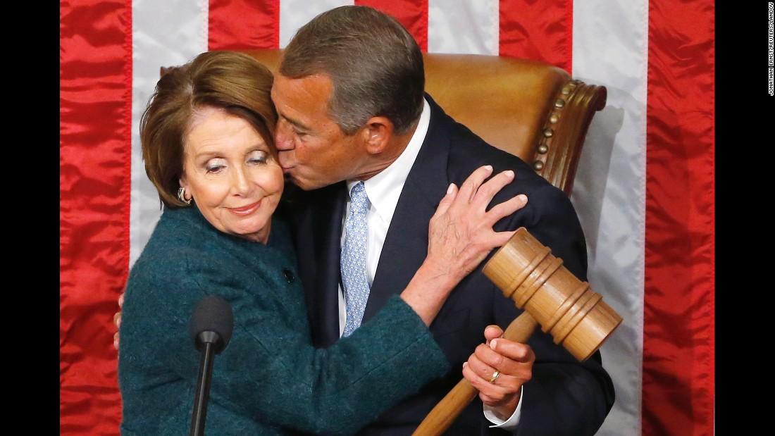 "John Boehner kisses House Minority Leader Nancy Pelosi after <a href=""http://www.cnn.com/2015/01/06/politics/house-speaker-boehner-vote/index.html"" target=""_blank"">he was elected to a third term</a> as Speaker of the House of Representatives on Tuesday, January 6."