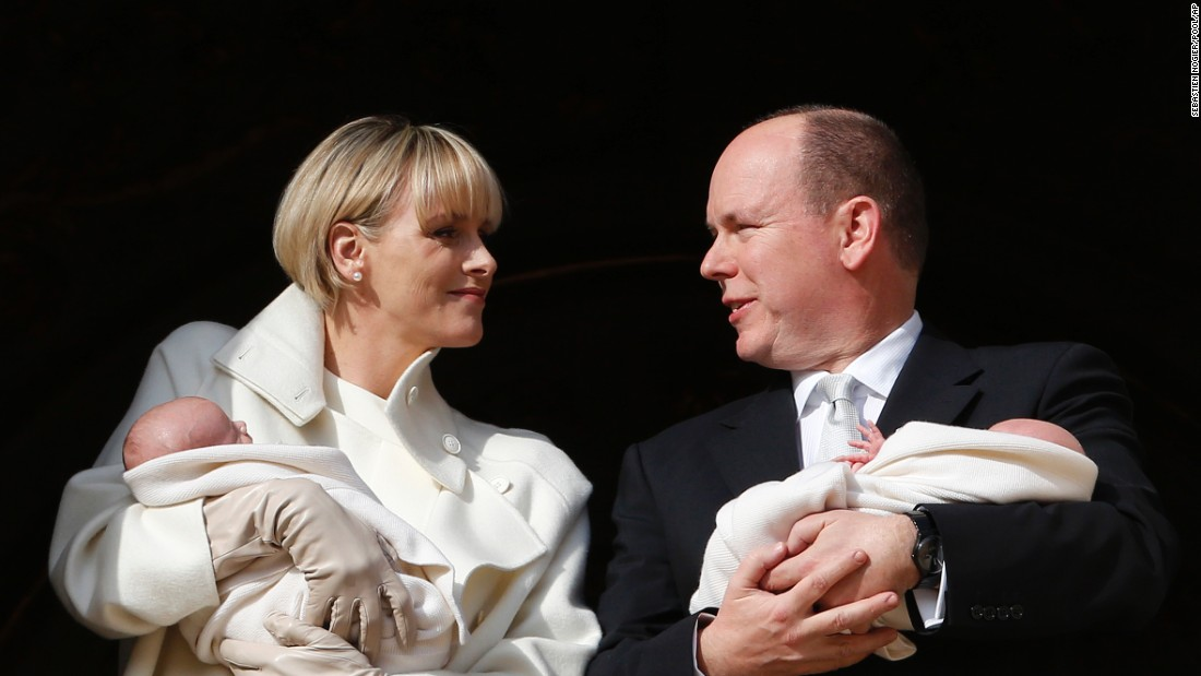 Princess Charlene and Prince Albert of Monaco appear on a palace balcony with their newborn twins -- Jacques and Gabriella -- on Wednesday, January 7.