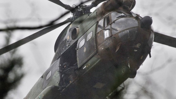 Armed security forces fly in Dammartin-en-Goele on January 9.