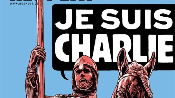 """The front page of Czech magazine Respekt depicts the patron saint of the Czech state, St. Wenceslas, internationally known as the Good King Wenceslas, declaring """"Je Suis Charlie."""""""
