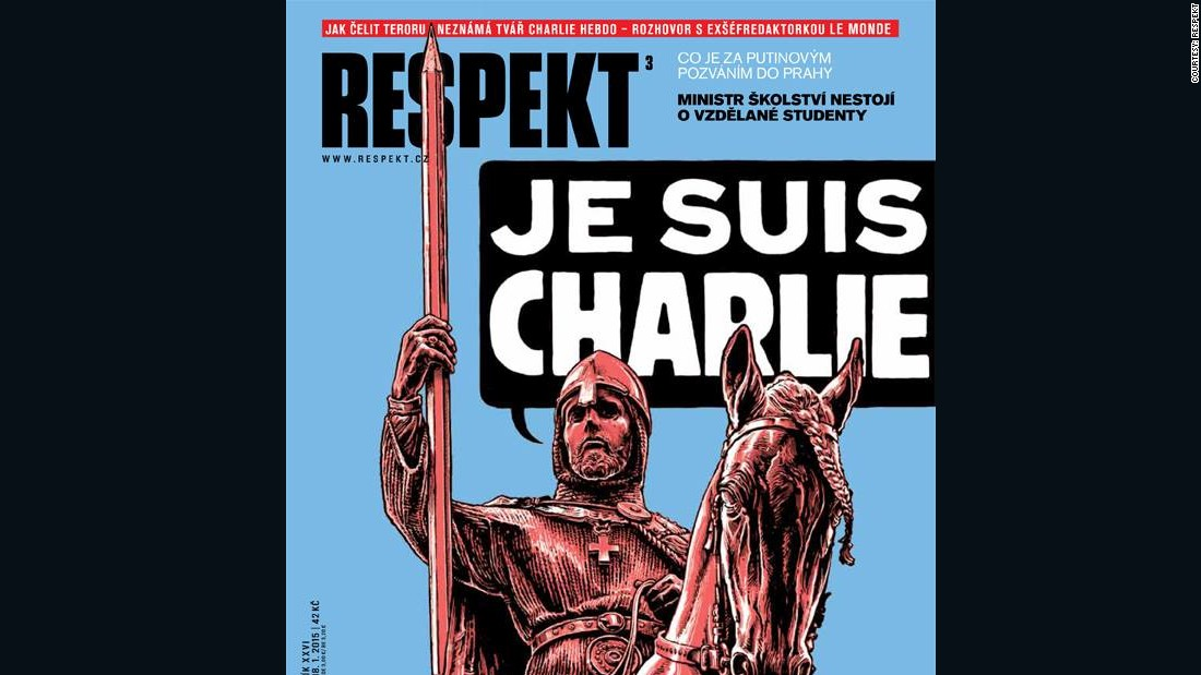 "The front page of Czech magazine Respekt depicts the patron saint of the Czech state, St. Wenceslas, internationally known as the Good King Wenceslas, declaring ""Je Suis Charlie."""