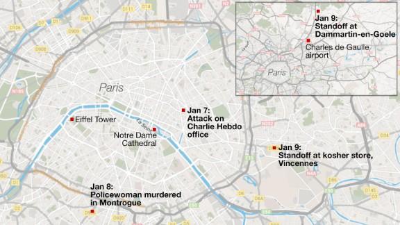 Map: Standoffs near Paris, France