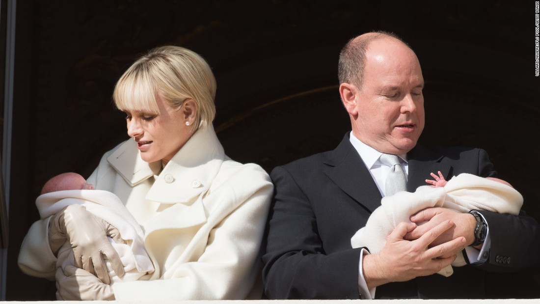 JANUARY 9 - MONACO: Prince Albert II of Monaco and Princess Charlene of Monaco present their newborn twins Princess Gabriella and Prince Jacques at the Palace Balcony.