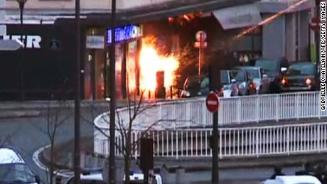 A screengrab taken from an AFP TV video shows a general view of members of the French police special forces launching the assault at a kosher grocery store in Porte de Vincennes, eastern Paris, on January 9, 2015 where at least two people were shot dead on January 9 during a hostage-taking drama at a Jewish supermarket in eastern Paris, and five people were being held, official sources told AFP. Several hostages were freed after French commandos stormed a Jewish supermarket in eastern Paris where an assailant was holed up on January 9. After several explosions, police stormed the shop in Portes de Vincennes and everal hostages exited the store shortly afterwards and were taken to safety. AFP PHOTO / AFPTV / GABRIELLE CHATELAINGABRIELLE CHATELAIN/AFP/Getty Images
