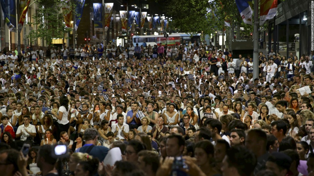 A crowd gathers in Sydney on January 8 to show their support for Charlie Hebdo.