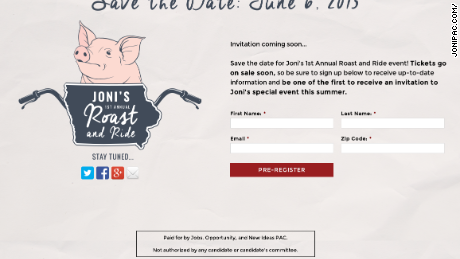 A screen shot of the invitation for Sen. Joni Ernst's 1st annual roast and ride fundraiser.
