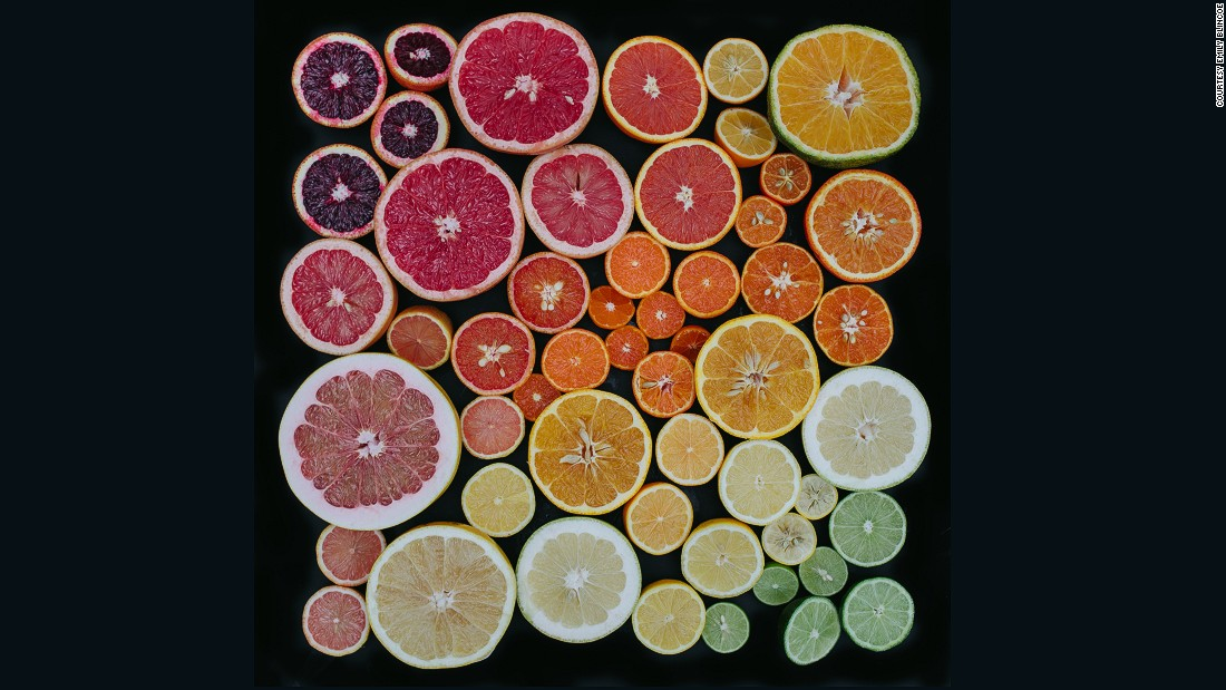 The fruits used for this popular image of sliced citrus fruits yielded two gallons of juice.