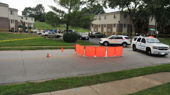 The grand jury saw police photos of the street where Michael Brown was shot on August 9.