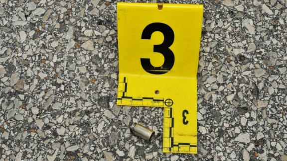 This .40 caliber bullet casing was found near the police vehicle Wilson was driving.