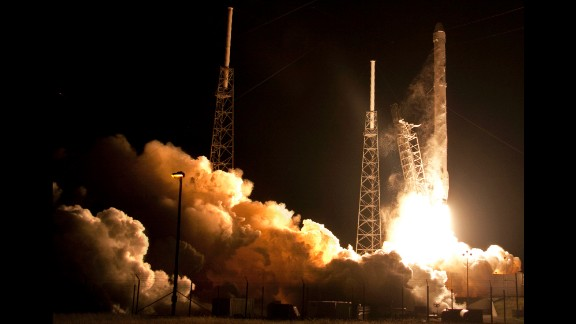 The Falcon 9 SpaceX rocket lifts off from Space Launch Complex 40 at the Cape Canaveral Air Force Station in Cape Canaveral, Fla., Saturday, Jan. 10, 2015. SpaceX is on a resupply mission to the International Space Station. (AP Photo/John Raoux)