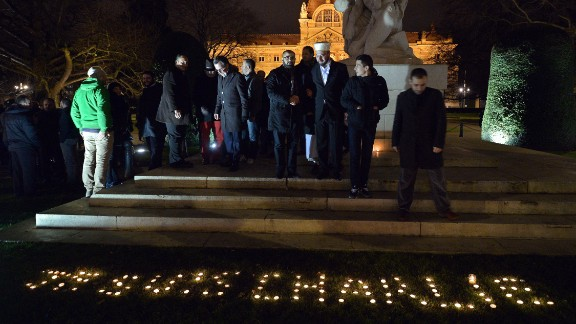 Muslims pay tribute in Strasbourg, eastern France, on January 9 to victims of the Charlie Hebdo attack.