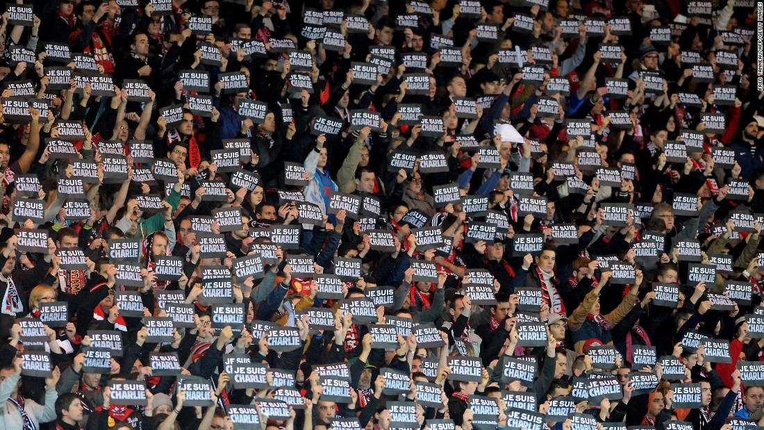 "Football, however, is one area of French life where the national principles are still very much alive. Here supporters hold signs reading ""Je suis Charlie"" (I am Charlie) during the French Ligue 1 match between Guingamp and Lens at the Roudourou stadium in January."