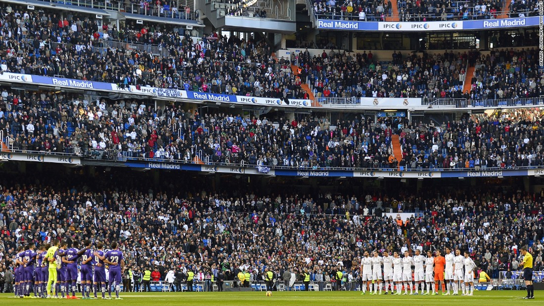 It wasn't just France where tributes were paid. In Sapin, the players of Real Madrid and Espanyol observed a minutes silence before their match at the Santiago Bernabeu, Saturday.