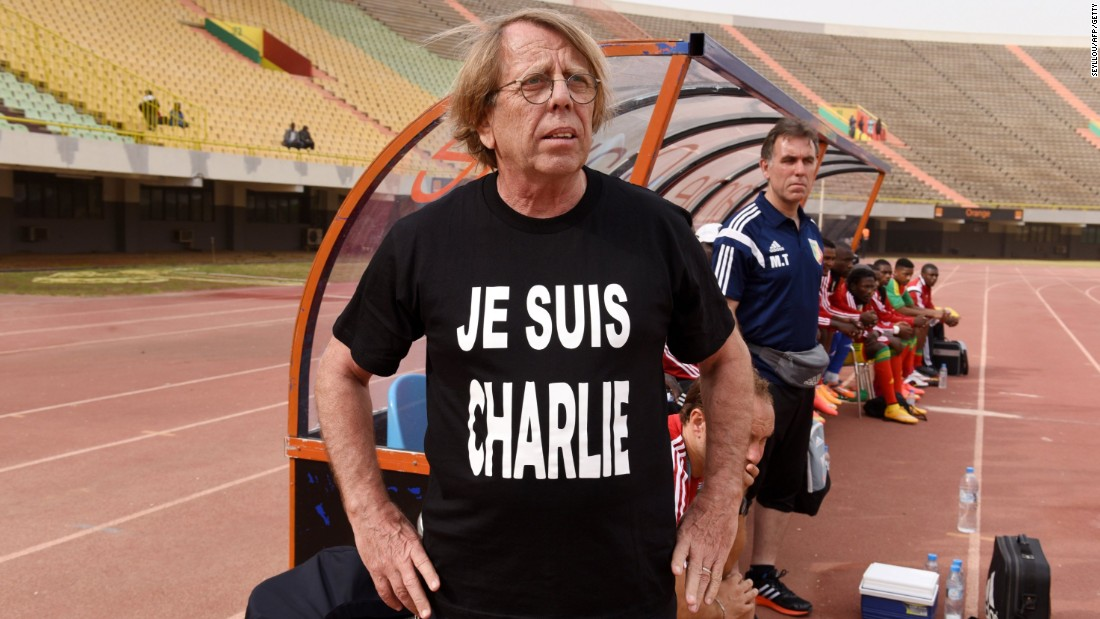 Congo's head coach Claude Le Roy wore a t-shirt to show his support during a friendly game between Congo and Cape Verde at the Leopold Sedar Senghor stadium in Dakar, Senegal, ahead of the Africa Cup of Nations 2015 which begins on January 17.