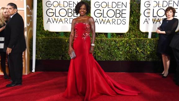 Viola Davis arrives at the Golden Globe Awards in Beverly Hills, California, on Sunday, January 11.