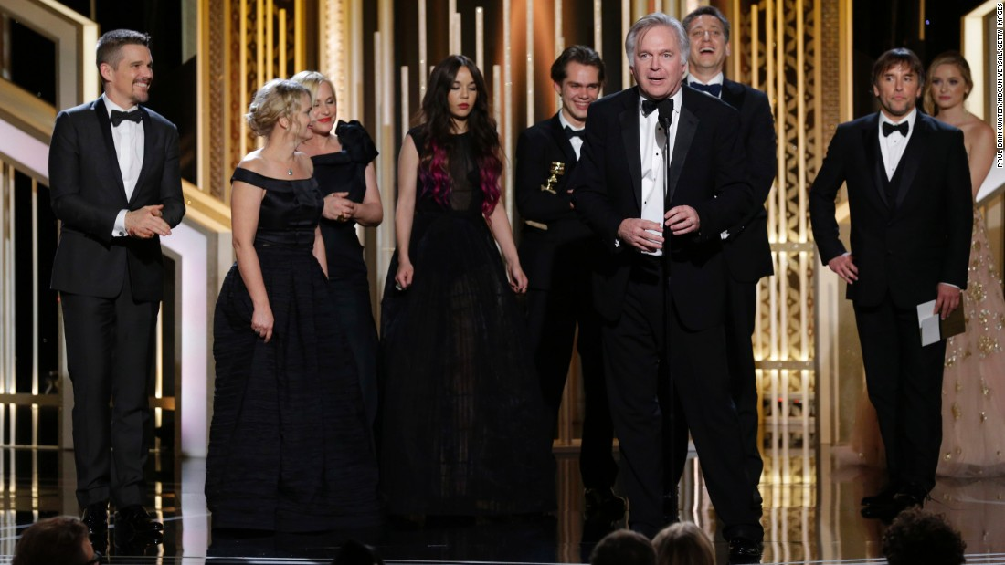 "Jonathan Sehring, the producer of ""Boyhood,"" accepts the award for best motion picture in the drama category. Patricia Arquette won best supporting actress for her role in the film, and director Richard Linklater also scored a Golden Globe."