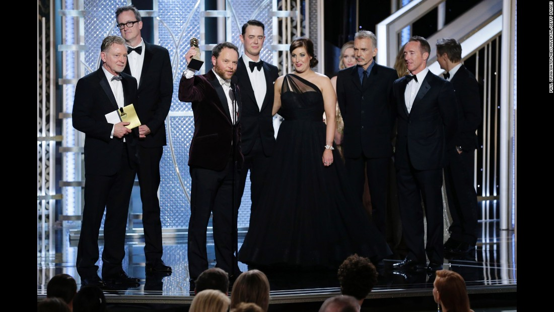 """Fargo"" creator Noah Hawley accepts the award for best miniseries or TV film. Billy Bob Thornton also won a best actor award for his role on the show."