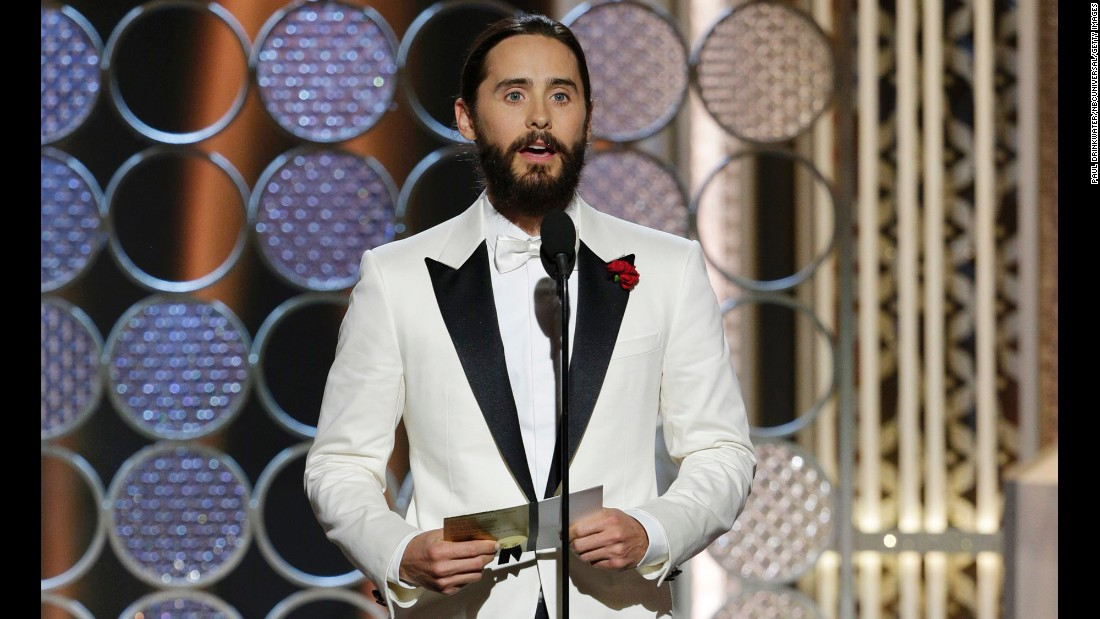 "Presenter Jared Leto expressed solidarity with French magazine Charlie Hebdo after <a href=""http://www.cnn.com/2015/01/07/world/gallery/paris-charlie-hebdo-shooting/index.html"">last week's terror attack in Paris</a>. ""To our brothers, sisters, friends and family in France: Our thoughts, our prayers, our hearts are with you tonight,"" he said."