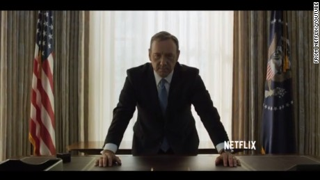 "Kevin Spacey as ruthless congressman-turned-President Frank Underwood in ""House of Cards."""
