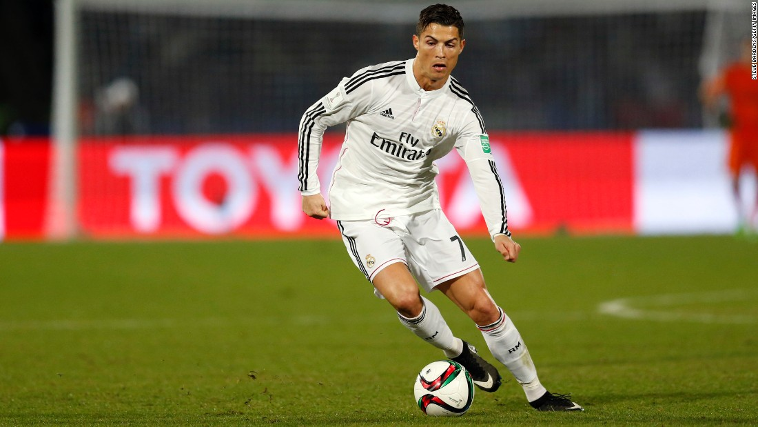 "Cristiano Ronaldo in action for his club, Real Madrid. The winner of the Ballon d'Or 12 months ago had another brilliant season for Los Blancos, scoring 51 goals during the 2013/14 season. Ronaldo was also instrumental in Real Madrid's 10th (""La Decima"") Champions League title."