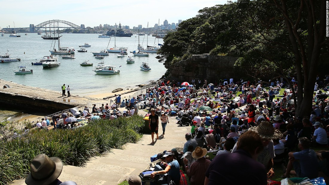 View from Bradley's Head, Sydney, where Robertson's supporters cheered her on for the win.