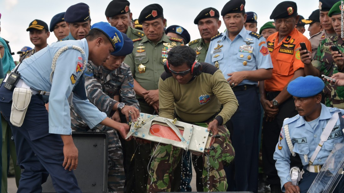 A flight data recorder was retrieved from the Java Sea on Monday, January 12.