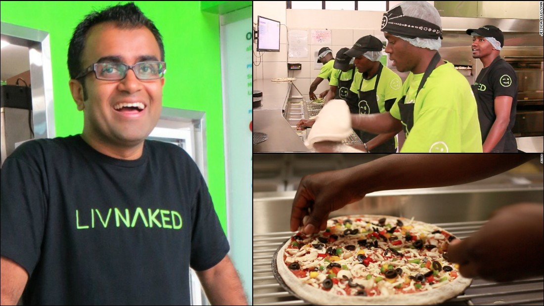 "The all natural <a href=""http://nakedpizza.co.ke/"" target=""_blank"">Naked Pizza </a>arrived in Nairobi, Kenya in 2012 courtesy of Ritesh Joshi, 33. The native Kenyan left a career in banking to bring good, fast pizza to his hometown population and in 2015 he wants to grow both his business and his staff.<br /><br />""In 2015, we have introduced a learning allowance for our star performers and leaders...The continued personal development of our leaders not only helps our business grow, but shapes the future leaders of our country."" he says.<br /><br /><a href=""http://edition.cnn.com/2013/12/18/business/banker-turned-pizza-maker-nairobi-naked/"" target=""_blank"">Read: Investment banker turned pizza maker 'gets Nairobi naked'.</a>"