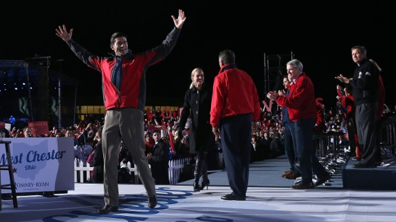Ryan greets supporters during a presidential campaign rally with Mitt Romney at The Square at Union Centre in West Chester, Ohio, on November 2, 2012.
