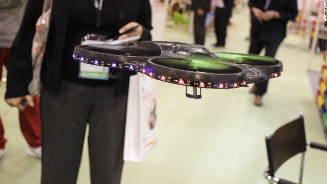 As well as toys for little ones, there were also gadgets for grown-ups. This drone is one of many models on display at the fair. Other high-tech toys include smartphone-powered model trains, and powered scooters that can reach speeds of 25km/h (16 mph).