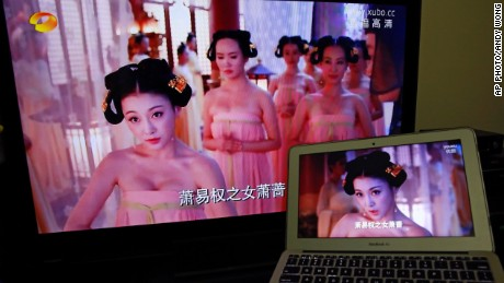 Actresses' cleavage was ordered cropped out of a Tang dynasty period drama by China's censors.