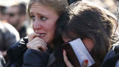 Mourners react in Jerusalem during the Tuesday funeral of four French Jews killed in an Islamist attack on a kosher supermarket in Paris last week.