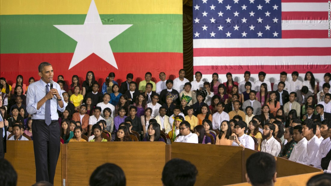 U.S President Barak Obama speaks to students during a Young Southeast Asian Leaders Initiative (YSEALI) Town Hall meeting on November 14, 2014 in Yangon, Burma
