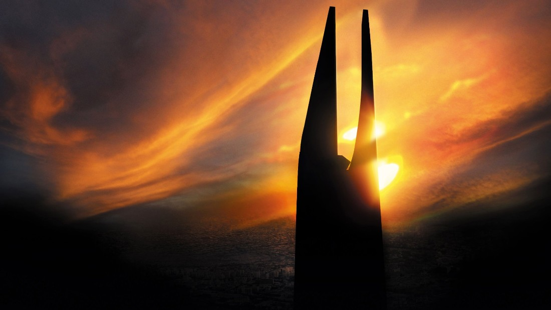 An artist's rendering of the sun setting on the Al Noor Tower.