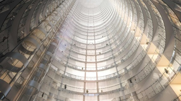 A view of the swirling design of the Al Noor Tower.