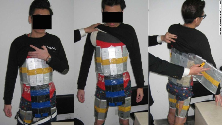 Smuggler had 94 iPhones taped to him