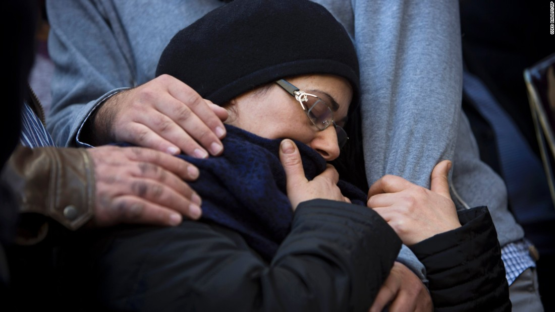 "The mother of Yoav Hattab is comforted during his funeral procession in Bnei Brak, Israel, on Tuesday, January 13. Hattab was one of four people killed last week <a href=""http://www.cnn.com/2015/01/09/world/gallery/paris-grocery-standoff/index.html"" target=""_blank"">at a kosher grocery store</a> in Paris."