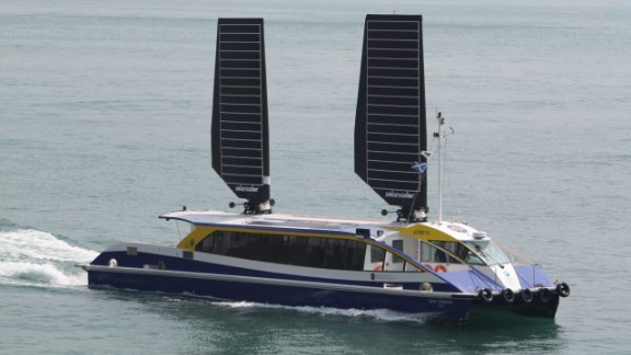 """Based in Australia, <a href=""""http://www.solarsailor.com/about/"""" target=""""_blank"""" target=""""_blank"""">Ocius Ocean Technology</a> claims its solar sails can save between 20-40% of fuel. Designed to work in winds of up to 44 knots, they track the movement of the sun for maximum sun exposure, and in the event of high winds, fold down against the boat."""