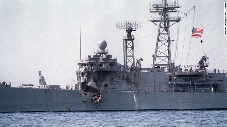 A picture taken May 17, 1987, of frigate USS Stark which was hit by two Exocet missiles fired from an Iraqi  fighter jet during the Iran-Iraq war.