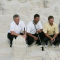 Colin Montgomerie, Michael Campbell, Retief Goosen and Adam Scott and sand sculptures