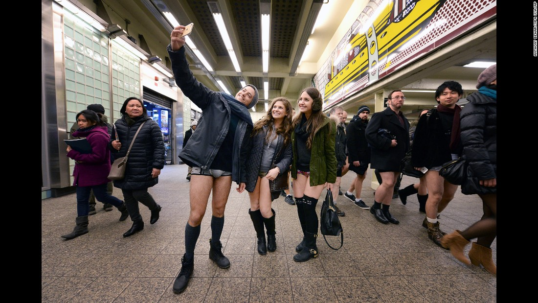 "People pose in a New York train station during the annual ""No Pants Subway Ride"" on Sunday, January 11."