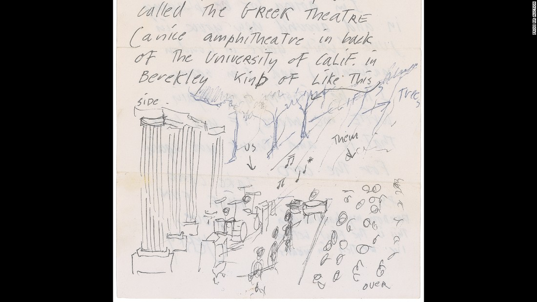 Grateful Dead front man Jerry Garcia drew this sketch of Berkeley's Greek Theatre after the band played the venue for the first time.